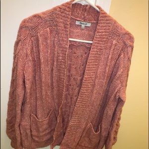 Madewell Pink Bubble Sleeve Cable Knit Cardigan